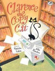 Cover des Buches Clarence the copy cat zeigt eine gezeichnete Katze auf einem Kopierer in einer Bibliothek
