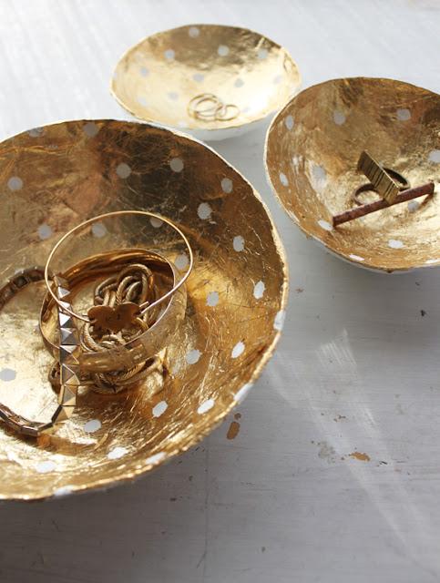 gold leaf paper mache bowls diy
