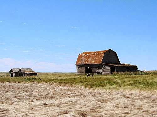 Abandoned farm buildings on the prairies in Alberta, Canada