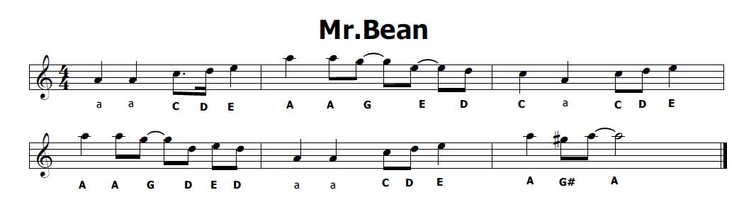 Musica e spartiti gratis per flauto dolce mr bean sigla
