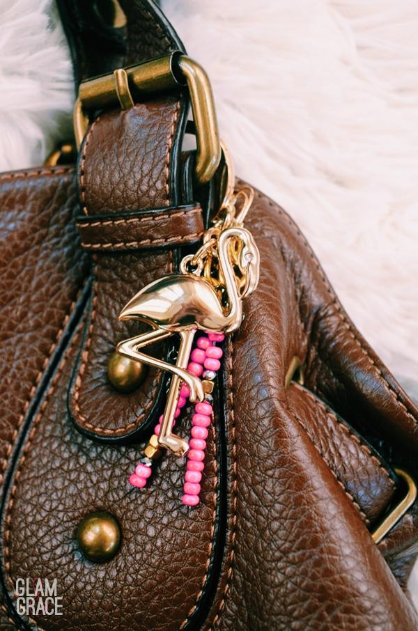 Gold Flamingo JCrew keychain accessory