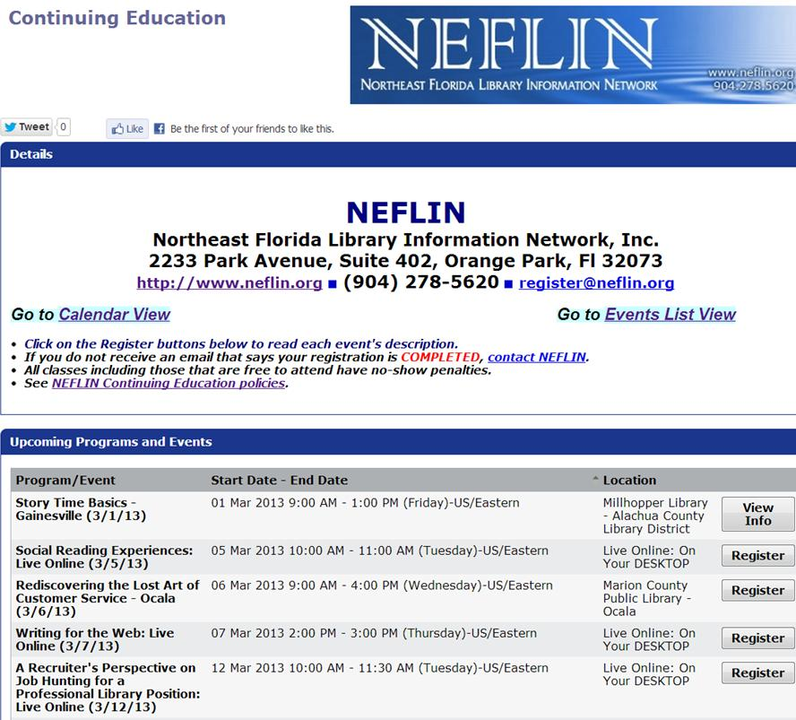 NEFLN Spring Schedule pix