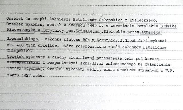 Karta katalogowa znajdująca się w Muzeum Wojska Polskiego w Warszawie.