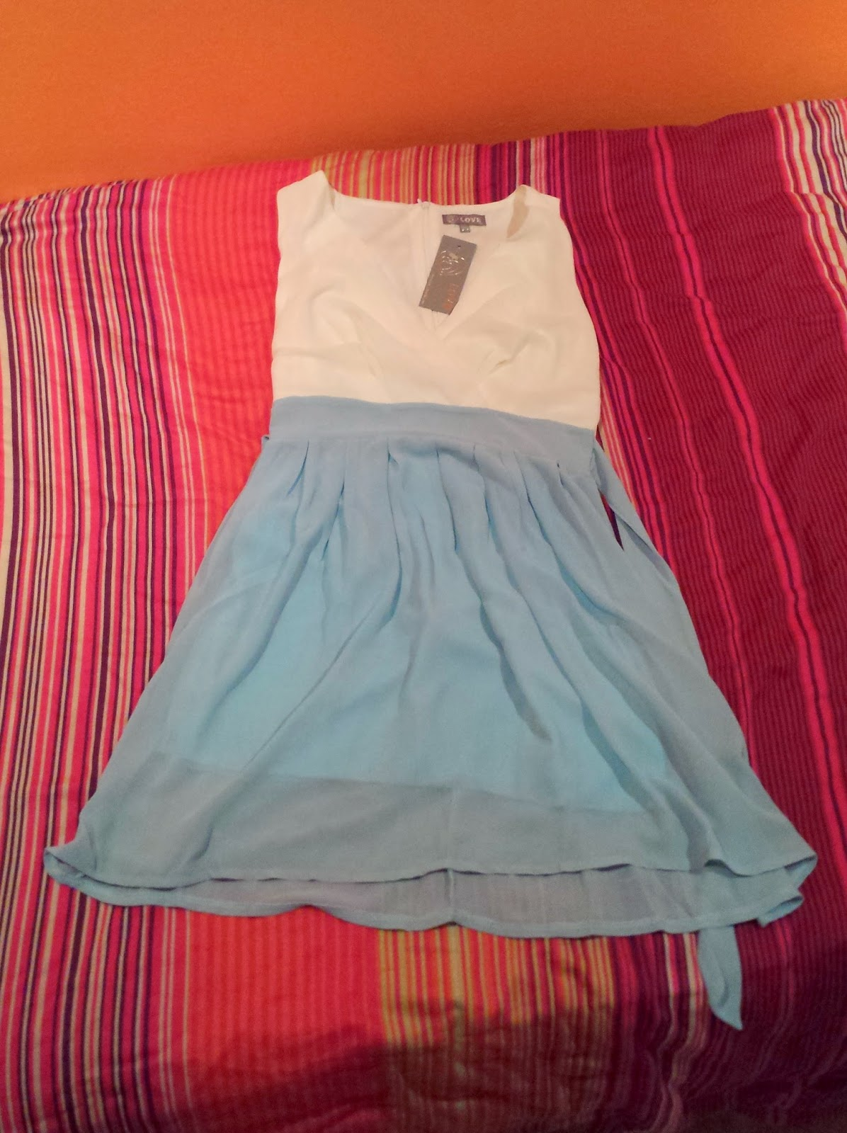 Clothes & Dreams: Self-rewarding during exams (shoplog): In Love With Fashion Powder Blue And Cream Cross Over Contrast Dress