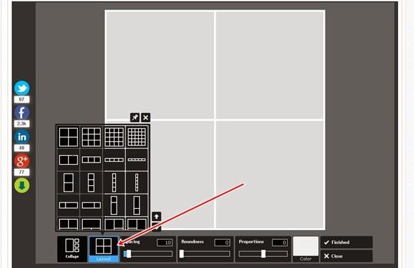 Escolher um layout para colagem de fotos