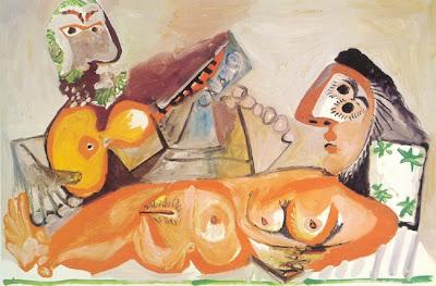 Picasso - Nu couche et homme jouant de la guitare