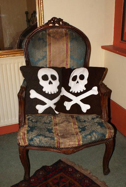 skull, pillow, antique, rockabilly, vintage, wool, cushion, kitsch
