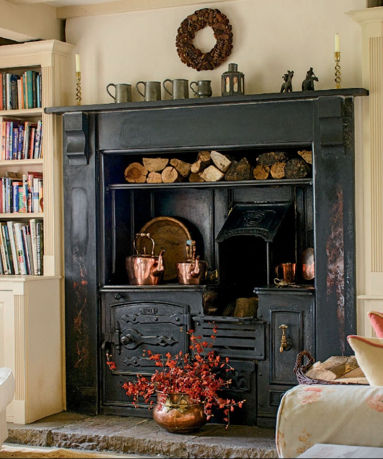 Built In Wood Stove Content In A Cottage