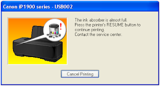 Cara Memperbaiki Printer Canon ip1980 Ink Absorber Is Full