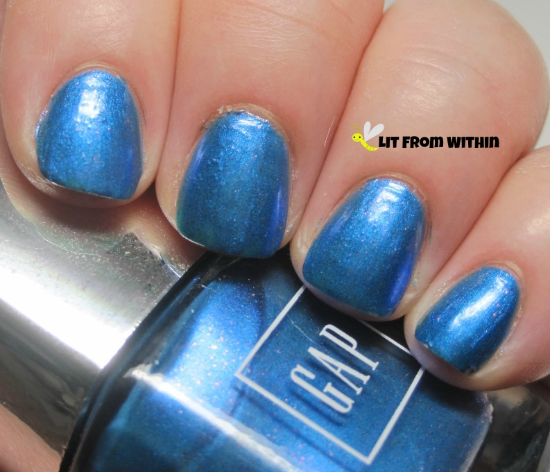 GAP Sparkling Sea, an ocean blue with tiny red glitters