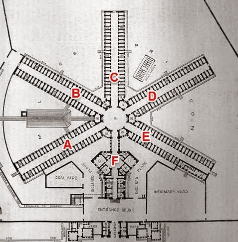 1851 Plan for Wandsworth Prison - showing Wings. (Wandsworth Prison Museum has a copy of the plan)