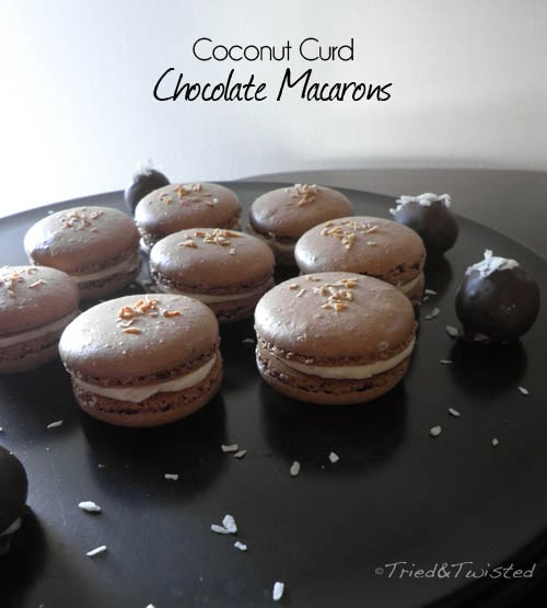 Coconut Curd and Chocolate French Macarons