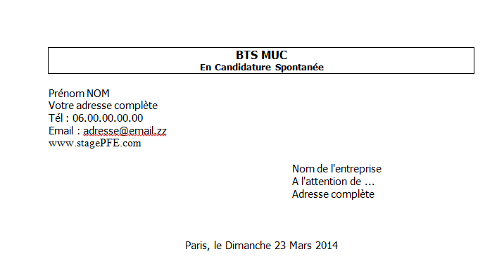 lettre de motivation bts muc