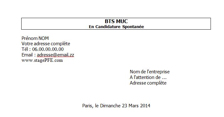 Docx Exemple lettre de motivation BTS MUC ~ StagePFE