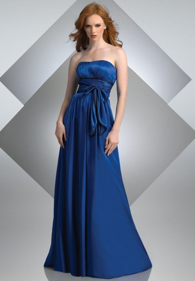 elegant long blue bridesmaid dresses