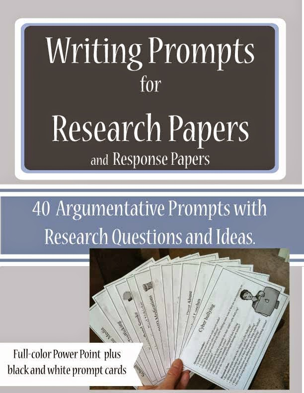 http://www.teacherspayteachers.com/Product/Writing-Prompts-Research-Papers-and-Response-Papers-1329353