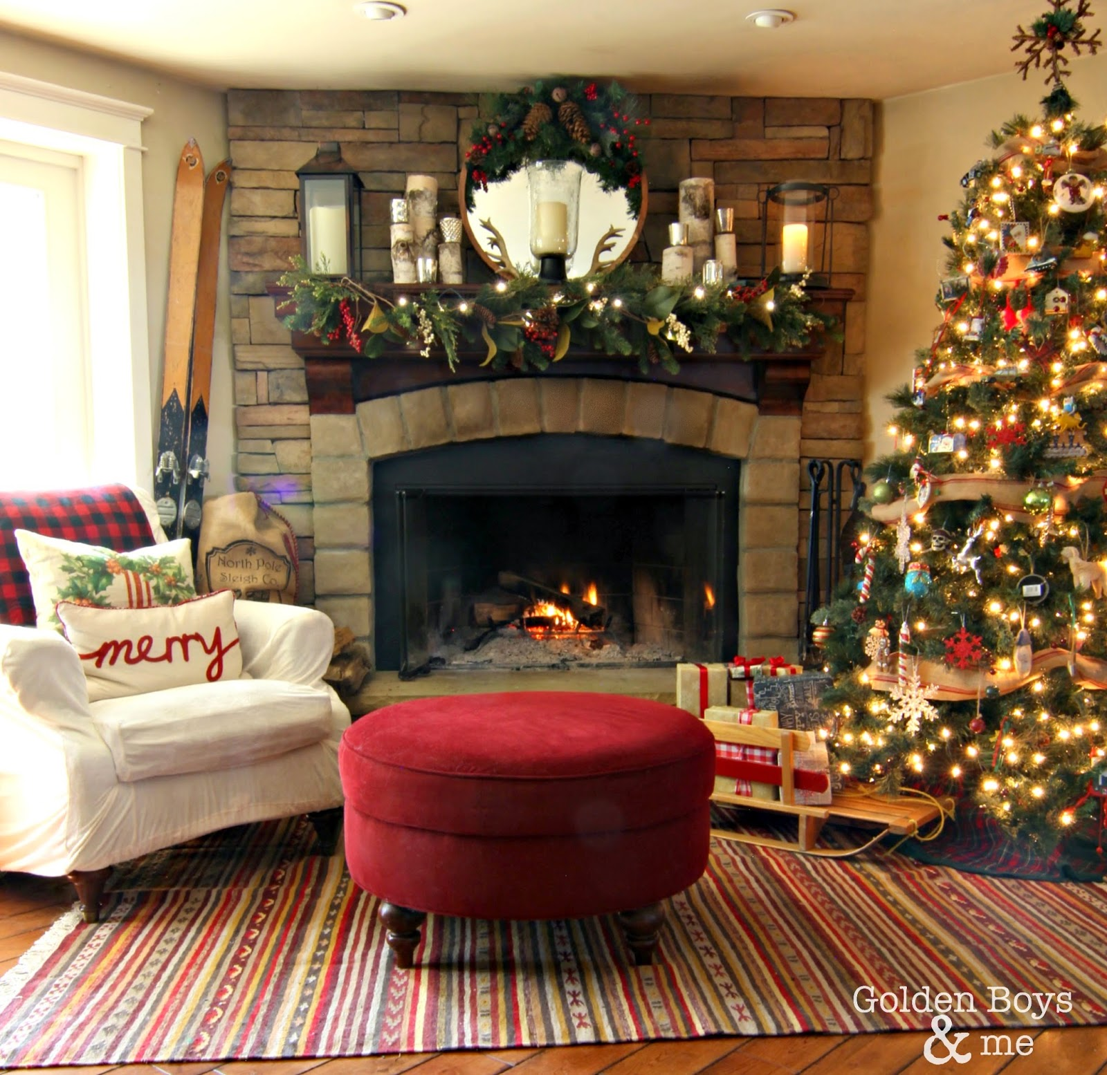 Rustic family room with stone fireplace and lodge style Christmas decor-www.goldenboysandme.com