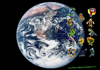 Desktop Wallpapers Ben 10 and Alien Monsters in Planet Earth Seen From Space desktop wallpaper