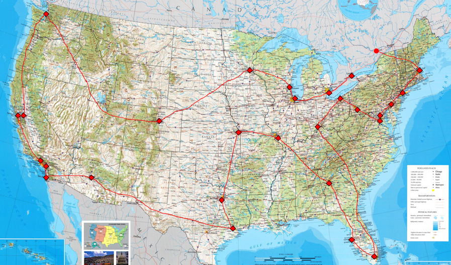 MLB Tour Tour Map - Us map of baseball stadiums outline