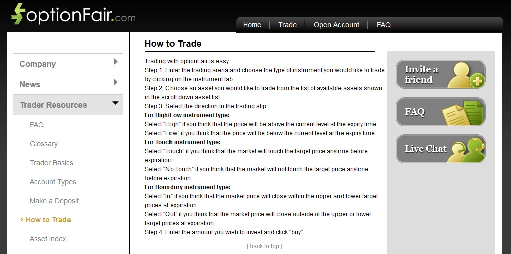 Option fair trading
