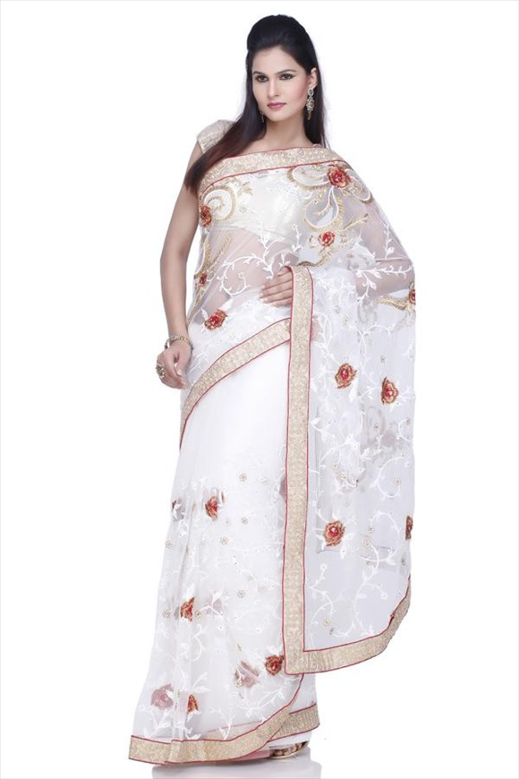 latest White Net Saree