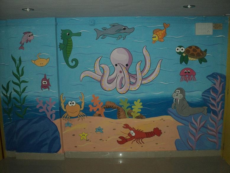 School kids classroom wall murals for Cartoon mural painting