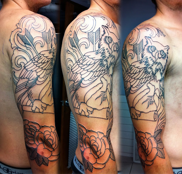 couple half sleeves i started in the last few daysOwl Half Sleeve Tattoos