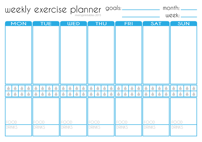 Merryprintables Free Weekly Exercise Planner