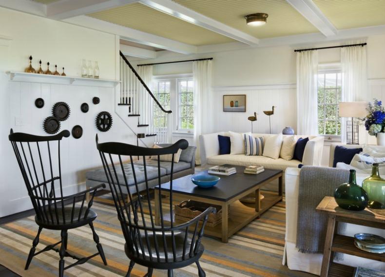 Coastal beach house family room with white slipcover sofa