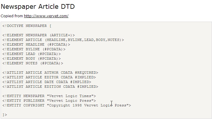 Create a .dtd and .xml file for a research paper