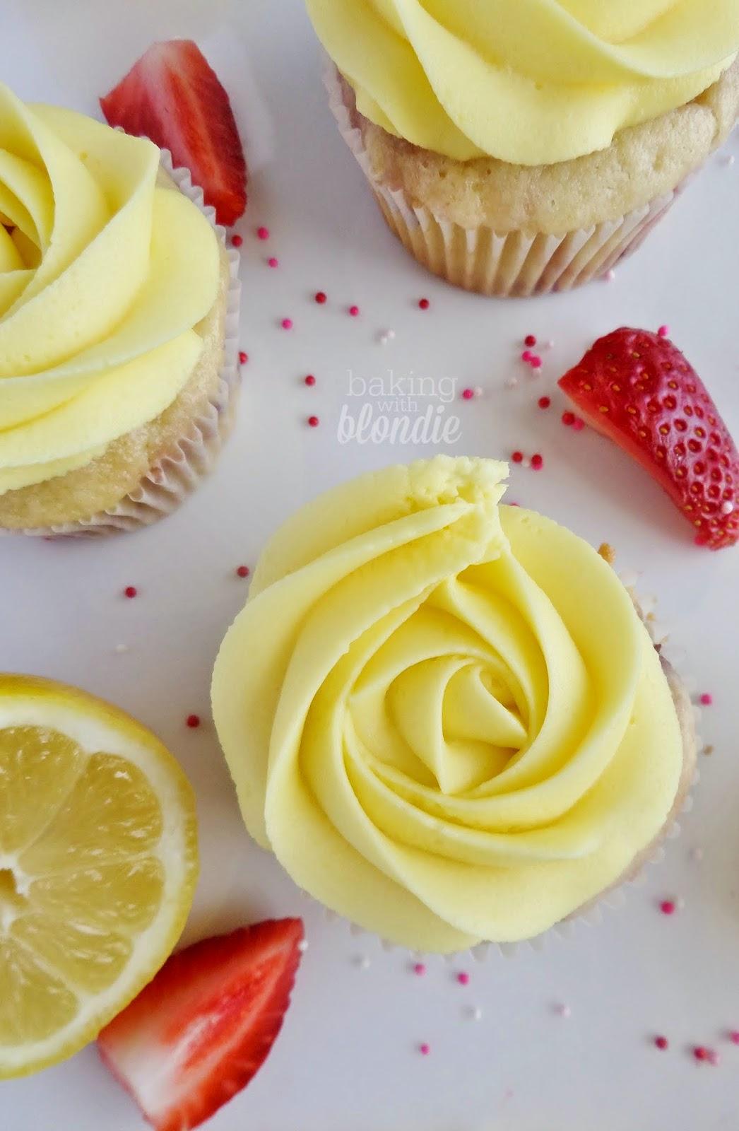 Strawberry Yogurt Cupcakes + Lemon Mousse Frosting