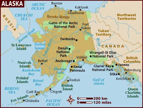 Map State - Arctic ocean on us map