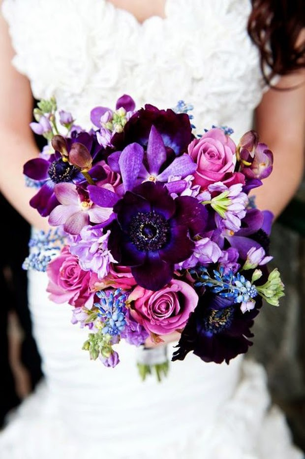 Purple Anemone Flower Bouquet|http://refreshrose.blogspot.com/