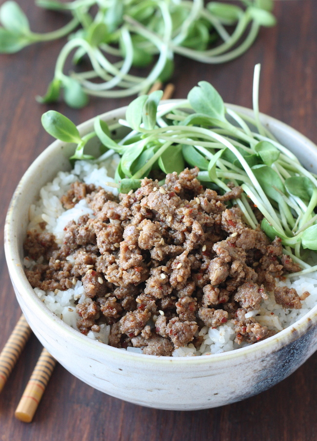Korean Beef Rice Bowl recipe by SeasonWithSpice.com