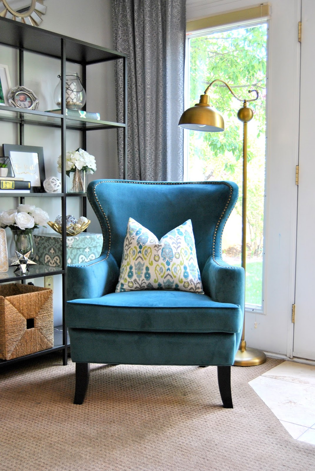 Studio 7 interior design july 2015 for Teal and brown chair