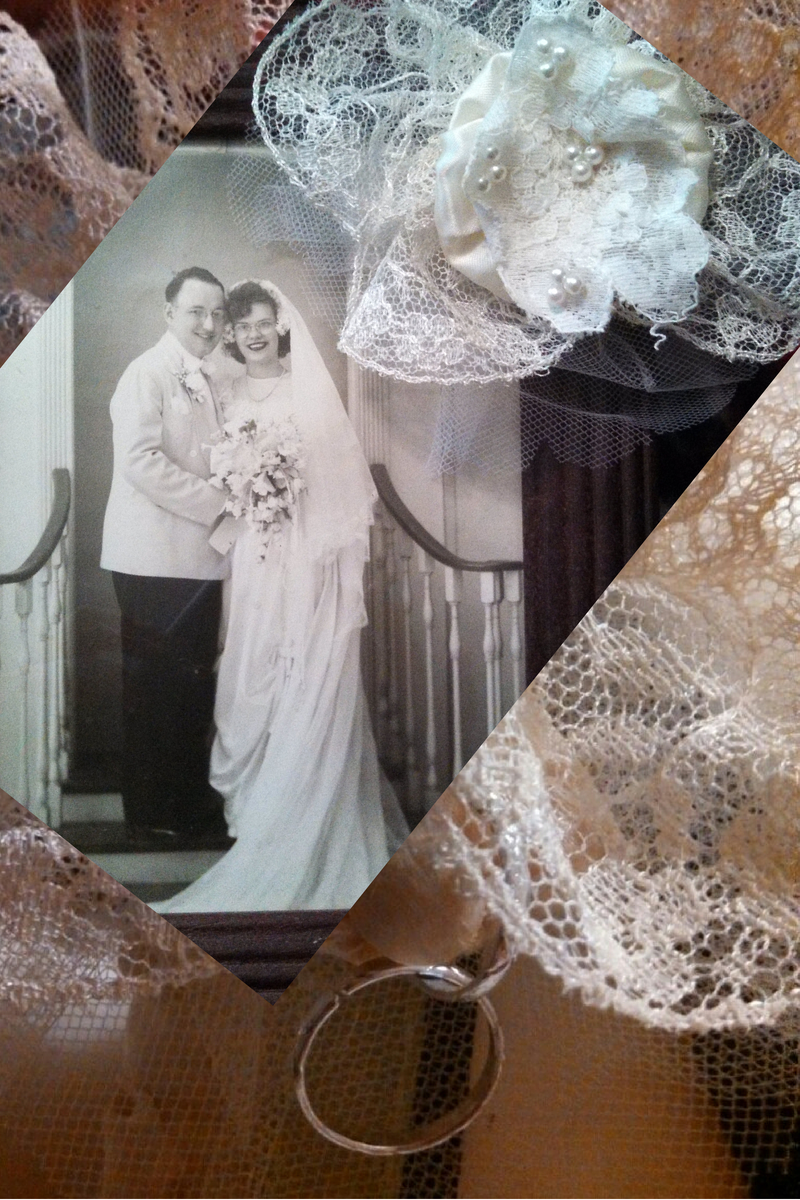 Prince Charming parents on their wedding day 67 years ago. Back ground and lace from her dress and her only daughter.