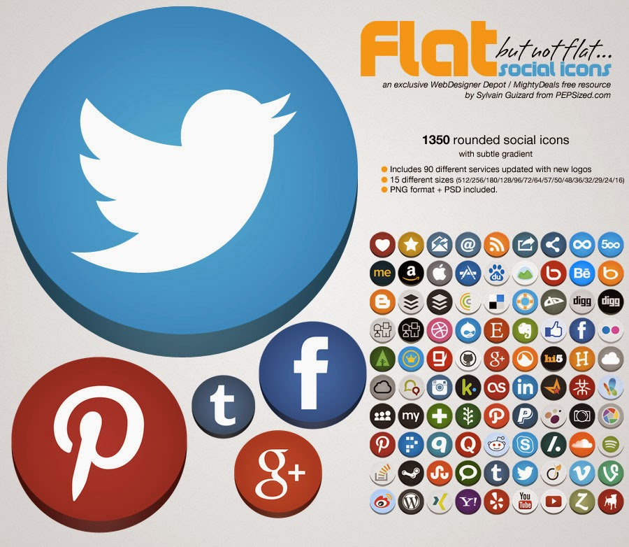 Collection Flat Rounded Social Media Icons
