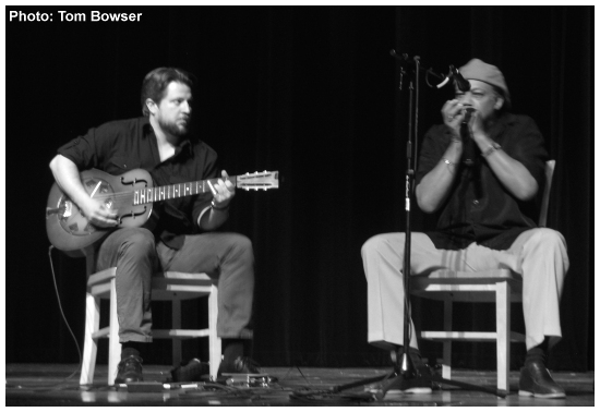 Blues harmonica player Billy Branch with resonator guitarist Dan Carelli at Preview of the 2015 Chicago Blues Fest  - Photo by Tom Bowser