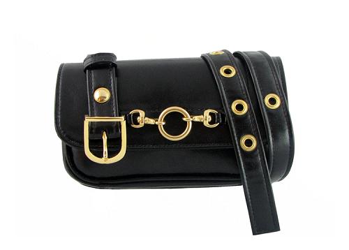 Black Vegan Leather Belt Bag