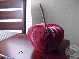 Apple Ornament made from a book