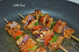 Chicken shashlik| Sauce| Rice| Boiled rice| Spicy| Snacks| Meal| Capsicum| Onion| Tomato| Shashlik sticks
