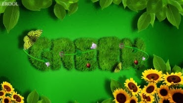 green nature text effect HD wallpaper