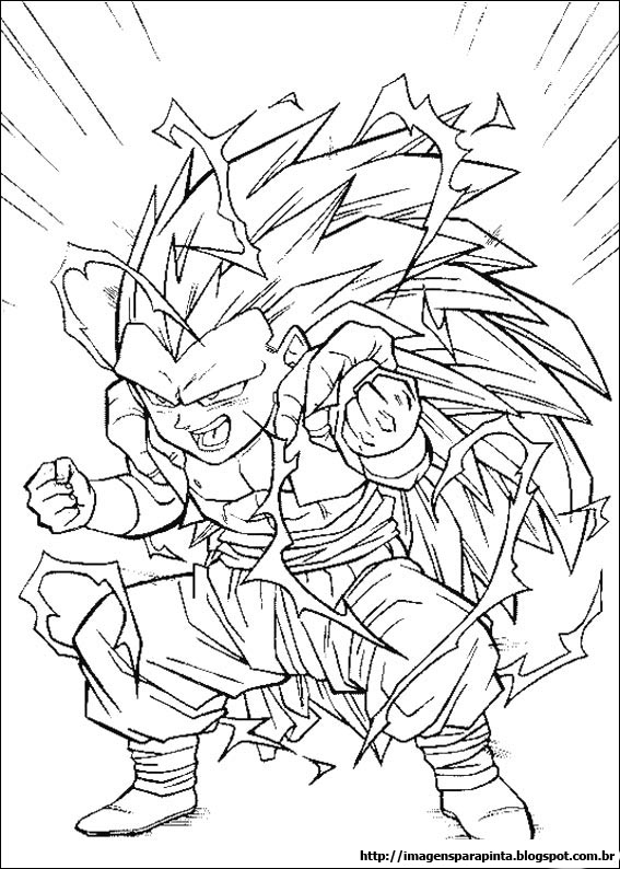 Desenhos Preto e Branco Dragon ball z super sayajin Colorir