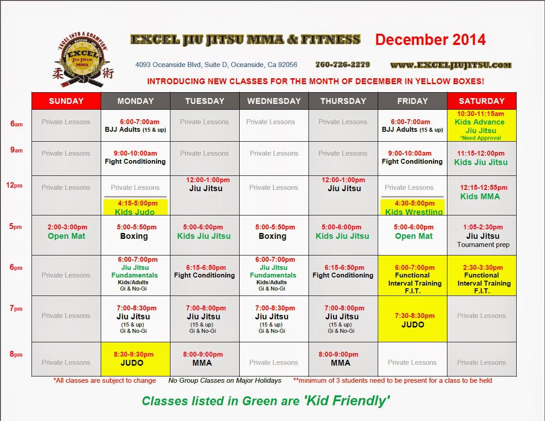 Excel Jiu Jitsu Oceanside Academy schedule