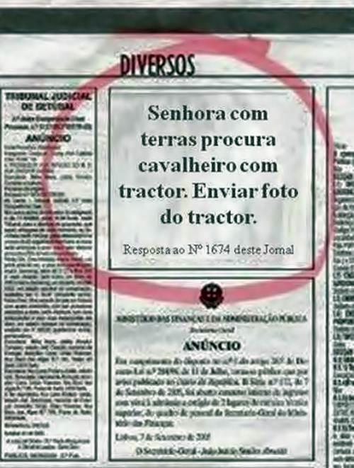 Anúncio de uma agricultora no jornal