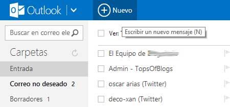 enviar un correo en Outlook.com