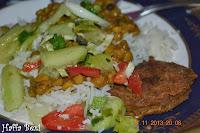 boiled rice, Gram lentil, Kebabs (Shami kebab), Ice berg Salad