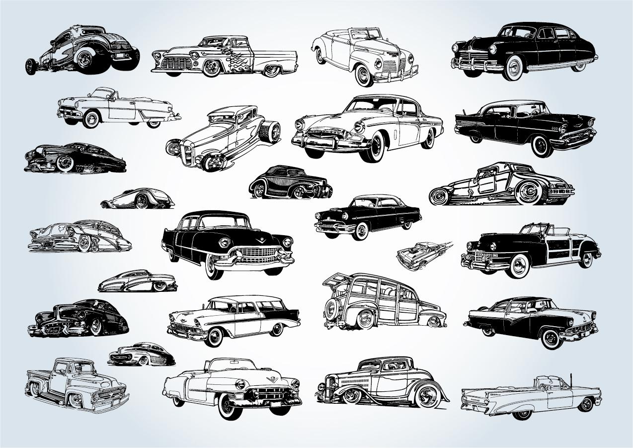 ヴィンテージカーの線画 Vintage Cars Vectors イラスト素材