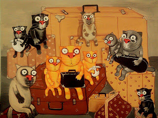 Cats family sitting on suitcases before leaving home forever, immigration, immigrants, drawings, funny pictures, comics, caricatures