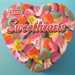 heart-shaped tin of necco sweethearts